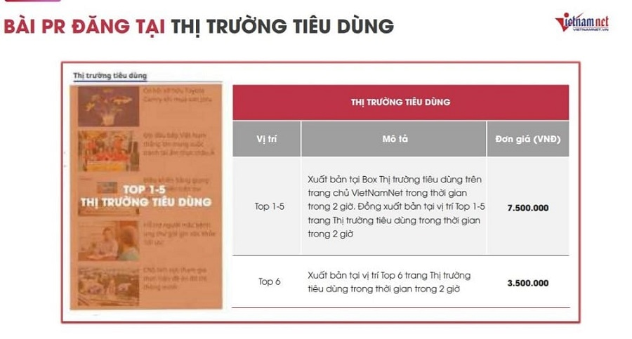 Bảng giá book bài PR báo trên Vietnamnet.vn với mức giá hấp dẫn nhất 2021